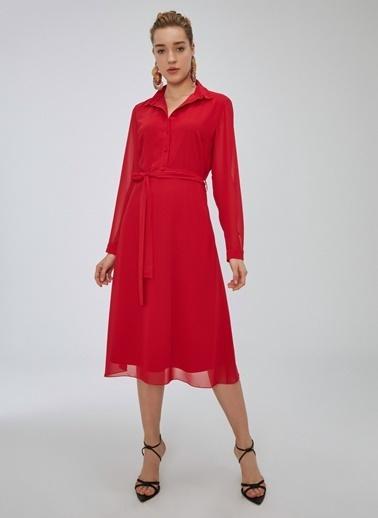 People By Fabrika Şifon Elbise Kırmızı